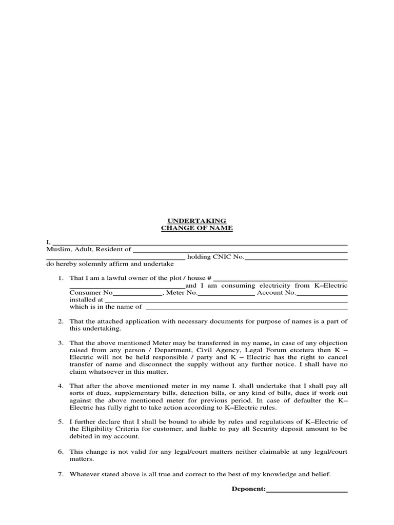 UNDERTAKING FOR CHANGE OF NAME - KARACHI ELECTRIC (BLANK) docx