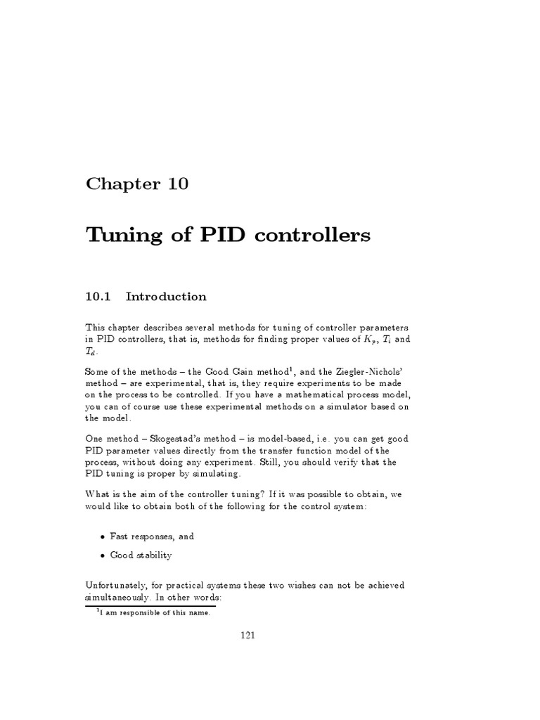 Tuning of PID controllers: I am responsible of this name