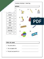 58004 School Bag Vocabulary