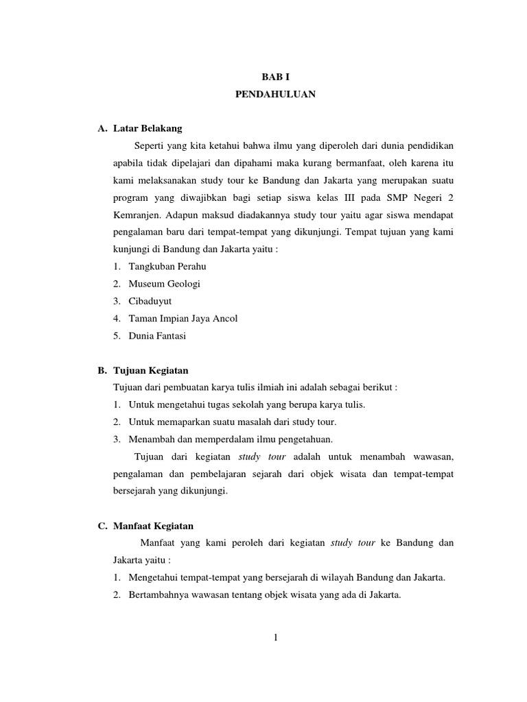 Contoh Latar Belakang Laporan Study Tour Jakarta Bandung Seputar Laporan