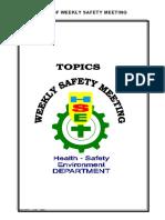 Kumpulan Topik Weekly Safety Talk