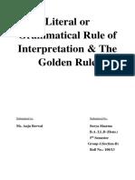 Literal or Grammatical Rule of Interpretation