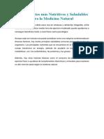Los Alimentos Más Nutritivos y Saludables Para La Medicina Natural