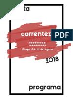 Carta Programa Correnteza 2018