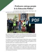Colegio de Profesores Entrega Premio Defensa de La Educacion