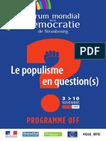 Programme OFF du Forum mondial de la Democratie à Strasbourg