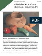 """El Primer Estilo de Las """"Naturalezas Muertas"""" de Fabbiani; Por Alejandro Oliveros «"""