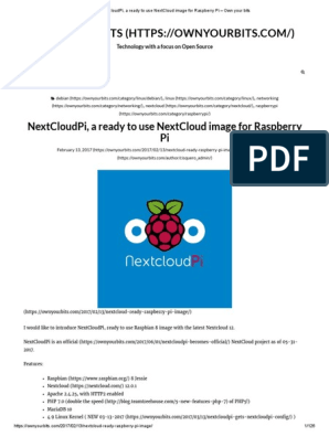NextCloudPi, A Ready to Use NextCloud Image for Raspberry Pi