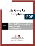He Gave Us Prophets - Lesson 1 - Forum Transcript