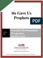 He Gave Us Prophets - Lesson 1 - Forum Transcript