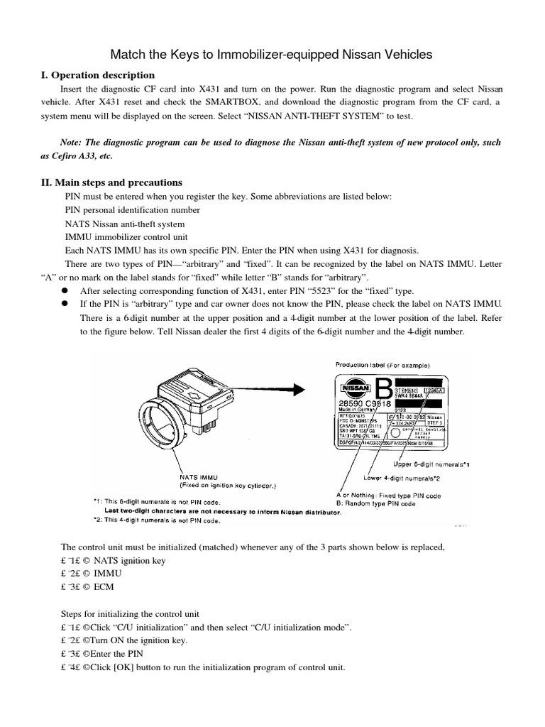 Mach Key Nissan pdf | Technology | Computing