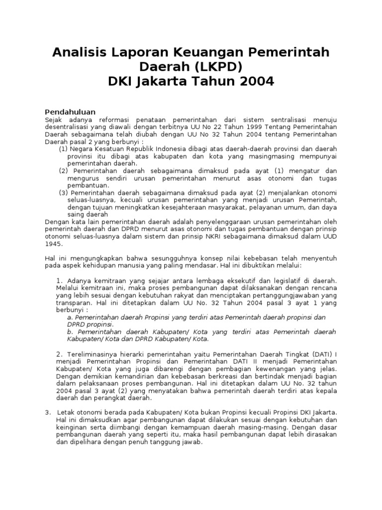 Analisis Laporan Keuangan Pemerintah Daerah Lkpd Dki Jakarta Tahun 2004