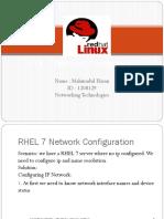 RHEL 7 Network Configuration