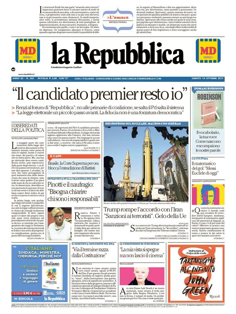 La Repubblica 14 Ottobre 2017 3ba9f893f40
