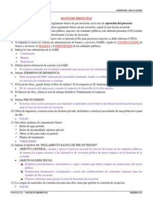 Banco De Preguntas Examen Parcial Presupuesto Ingeniero Civil