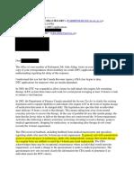 Letter from Revenue Minister Diane Lebouthillier
