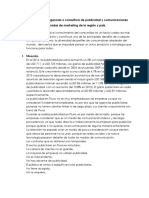 Diagnóstico de Las Agencias o Consultora de Publicidad y Comunicaciones Integradas de Marketing de La Región y País