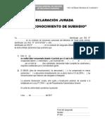4. Declaración Jurada Para Reconocimiento de Subsidio