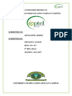 PTCL Internship Report 2017