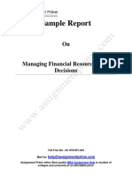Sample Report on Managing Financial Resources And Decisions