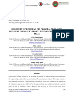 Recovery of Residual Oil From Palm Oil Mill Effluent Using Polypropylene Nanofiber a Field Trial