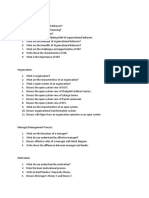 organizational behavior querries