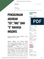 Penggunaan Akhiran Ed , Ing Dan s Bahasa Inggris