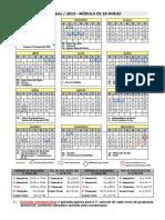 Calendário Acadêmico 2015 MÓDULO 18h Final