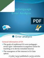 Interlanguage - Error Analysis