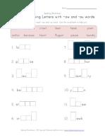 3rd Grade Spelling Worksheet Missing Letters Aw Au Words