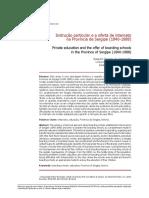 Instrução Particular e a Oferta de Internatos Na Província de Sergipe No Sec XIX