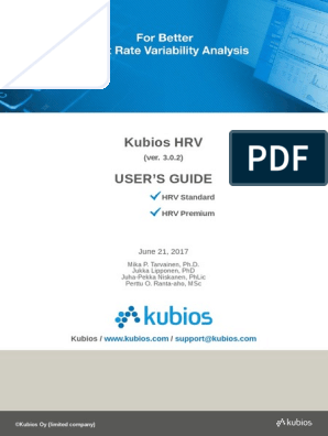 Kubios HRV Users Guide | Computing | Technology