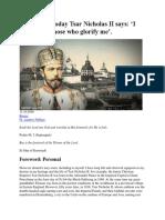 1916-2016_ Today Tsar Nicholas II Says I Will Glorify Those Who Glorify Me