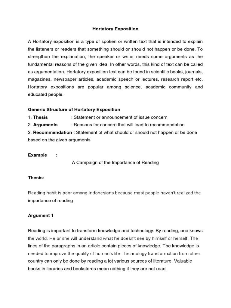Hortatory Exposition Docx Rhetoric Argument