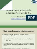 Presentación # 1 Introducción a La Ingeniería Industrial