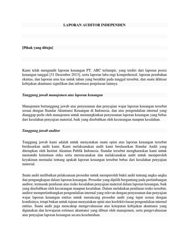 Contoh Laporan Auditor Independen Docx