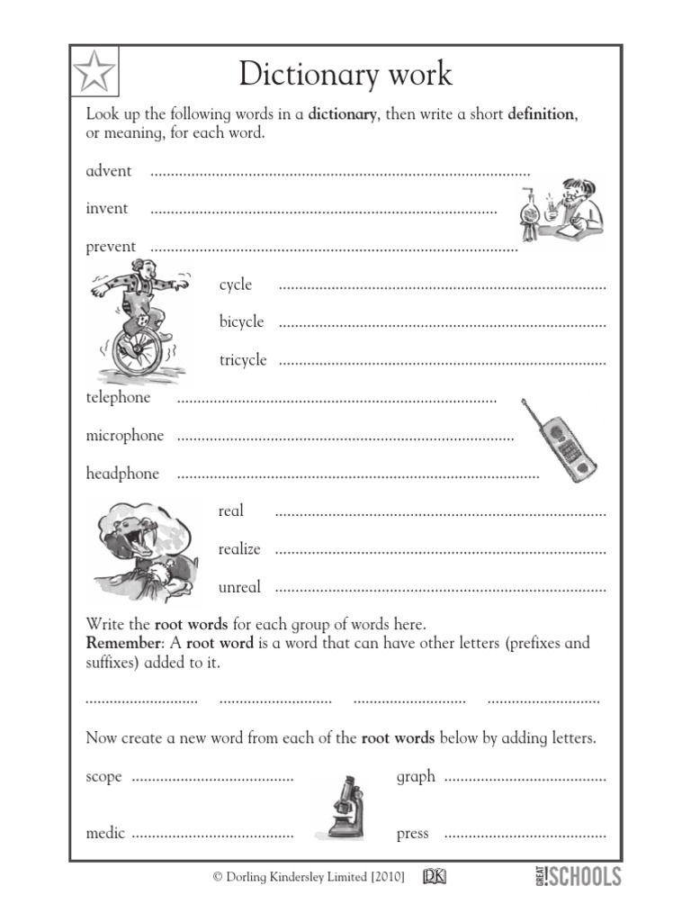 Dictionary Worksheet | Dictionary | Linguistic Typology