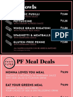 Pasta Flyer Menu (October 2017)