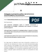 Pedagogía en perspectiva política. Aproximaciones fenomenológicas y hermenéuticas