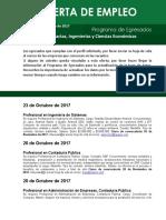 Ofertas de Empleo Ciencias Exactas, Ingenierias y Ciencias Económicas