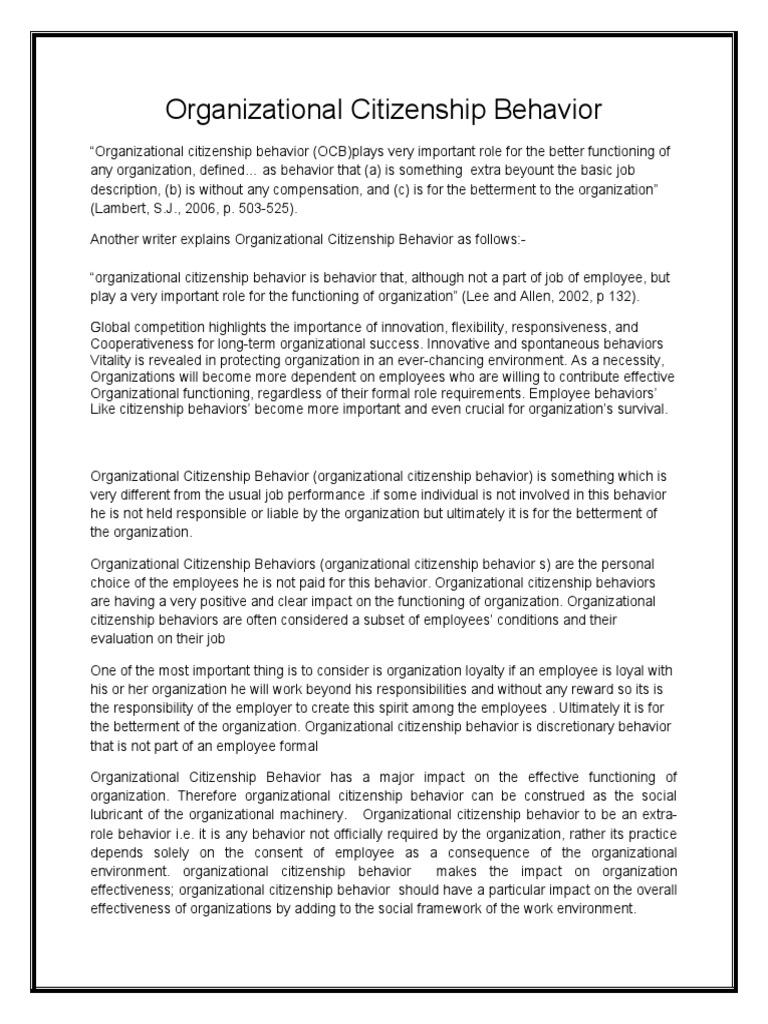 organizational citizenship behavior citizenship