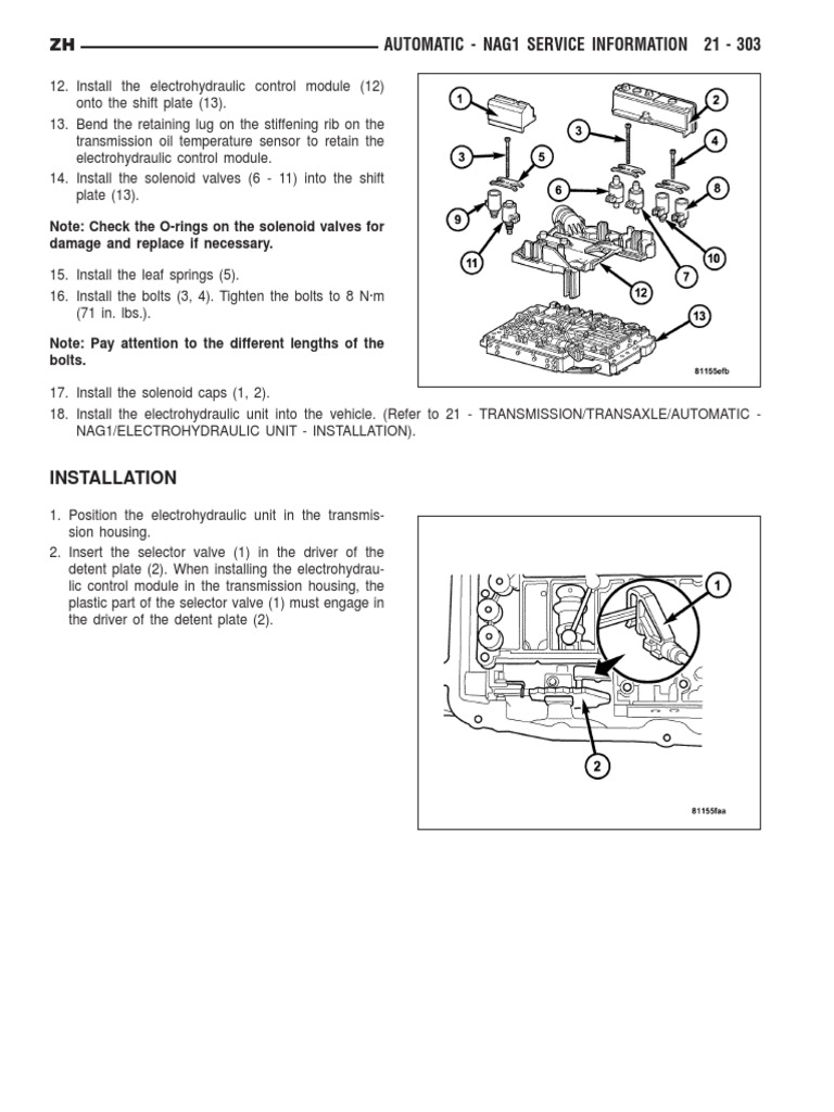 722 6 Valve Body/Oil Pan Torque Values