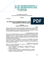 XLey Especial Del Municipal a Dos Niveles Del Metropolitana de Caracas2009X