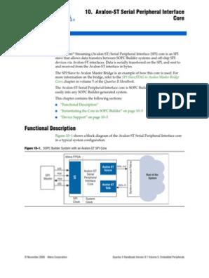 Avalon-ST SPI Core | Computer Data | Computer Standards