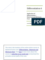 SPM Form 4 Add Math Tuition Note -Differentiation - Maximum and Minimum Point
