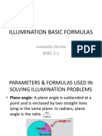 Illumination Basic Formulas