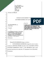 COMPLAINT - CPUC - Fed Constitional Case Re SDGE Fires