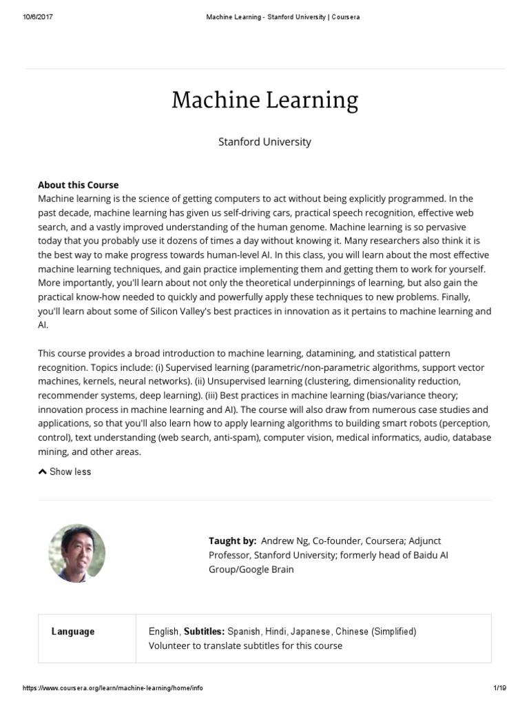 Machine Learning - Stanford University _ Coursera