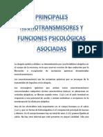 Principales neurotransmisores y funciones psicologicas asociadas