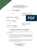 Notice of Change of Address-Fenol
